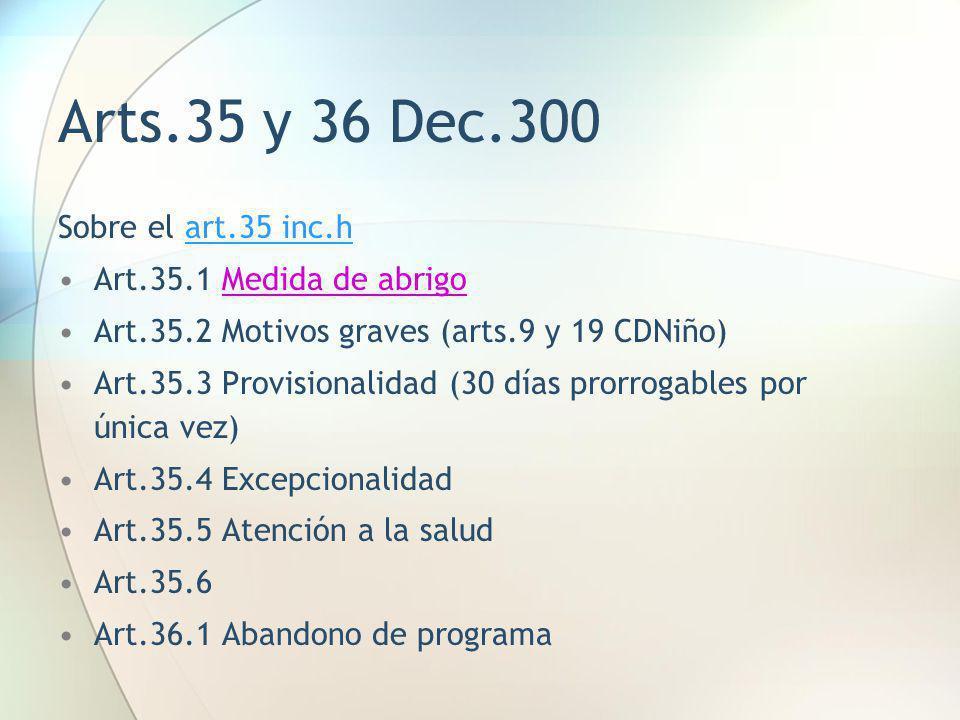 Arts.35 y 36 Dec.300 Sobre el art.35 inc.h Art.35.1 Medida de abrigo