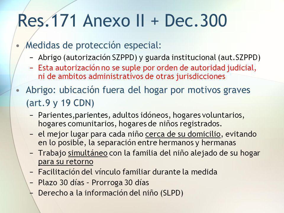 Res.171 Anexo II + Dec.300 Medidas de protección especial: