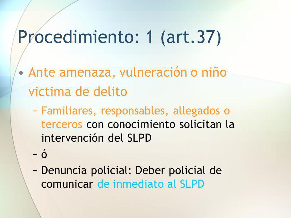 Procedimiento: 1 (art.37) Ante amenaza, vulneración o niño victima de delito.