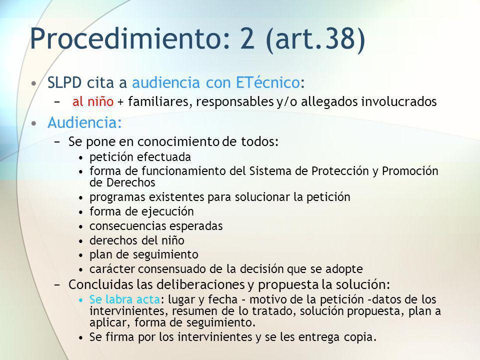 Procedimiento: 2 (art.38) SLPD cita a audiencia con ETécnico: