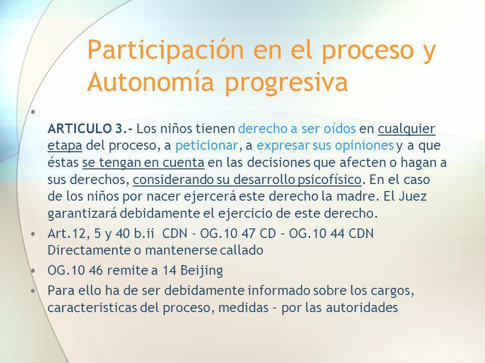 Participación en el proceso y Autonomía progresiva