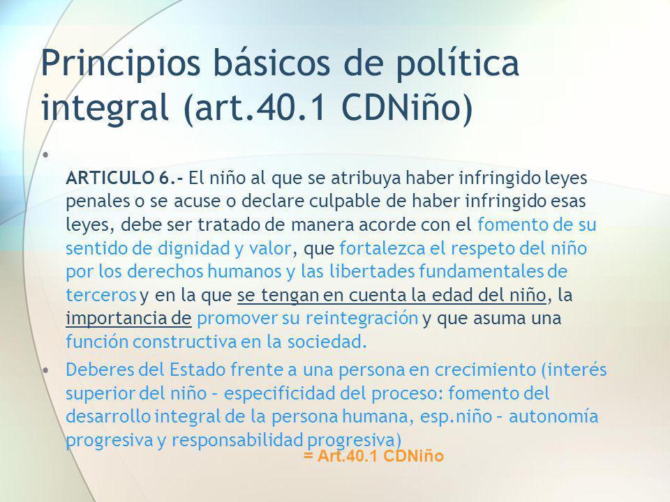 Principios básicos de política integral (art.40.1 CDNiño)