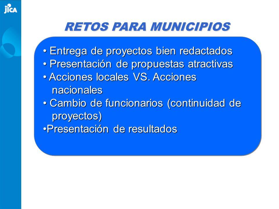 RETOS PARA MUNICIPIOS Entrega de proyectos bien redactados