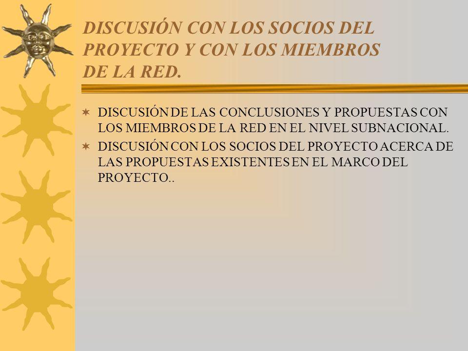 DISCUSIÓN CON LOS SOCIOS DEL PROYECTO Y CON LOS MIEMBROS DE LA RED.