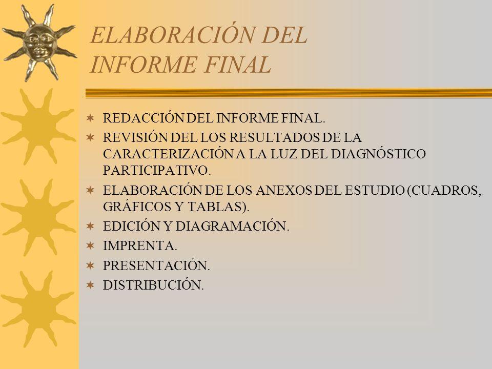 ELABORACIÓN DEL INFORME FINAL