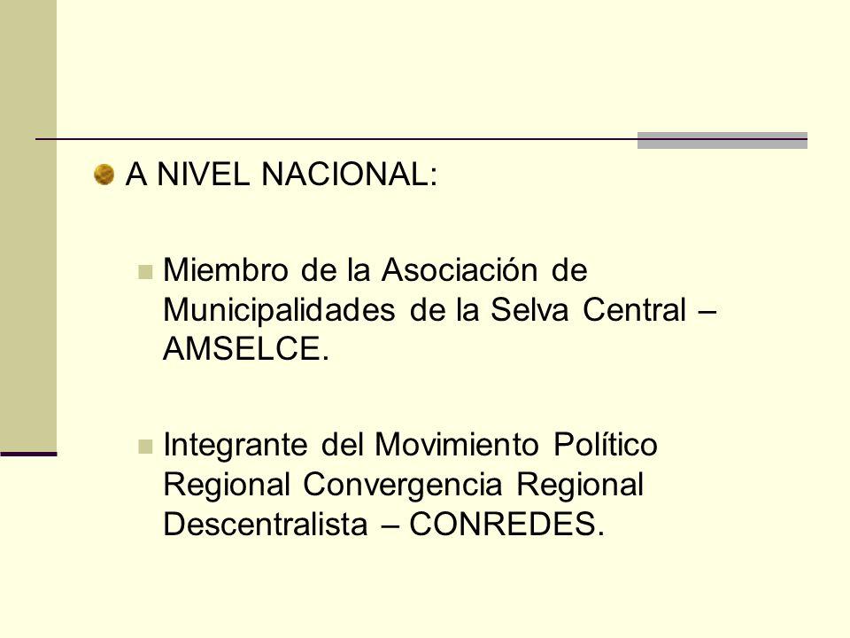 A NIVEL NACIONAL:Miembro de la Asociación de Municipalidades de la Selva Central – AMSELCE.