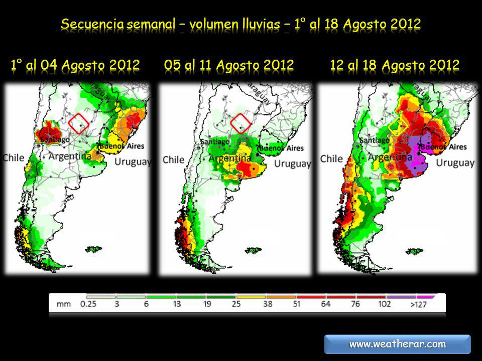 Secuencia semanal – volumen lluvias – 1° al 18 Agosto 2012