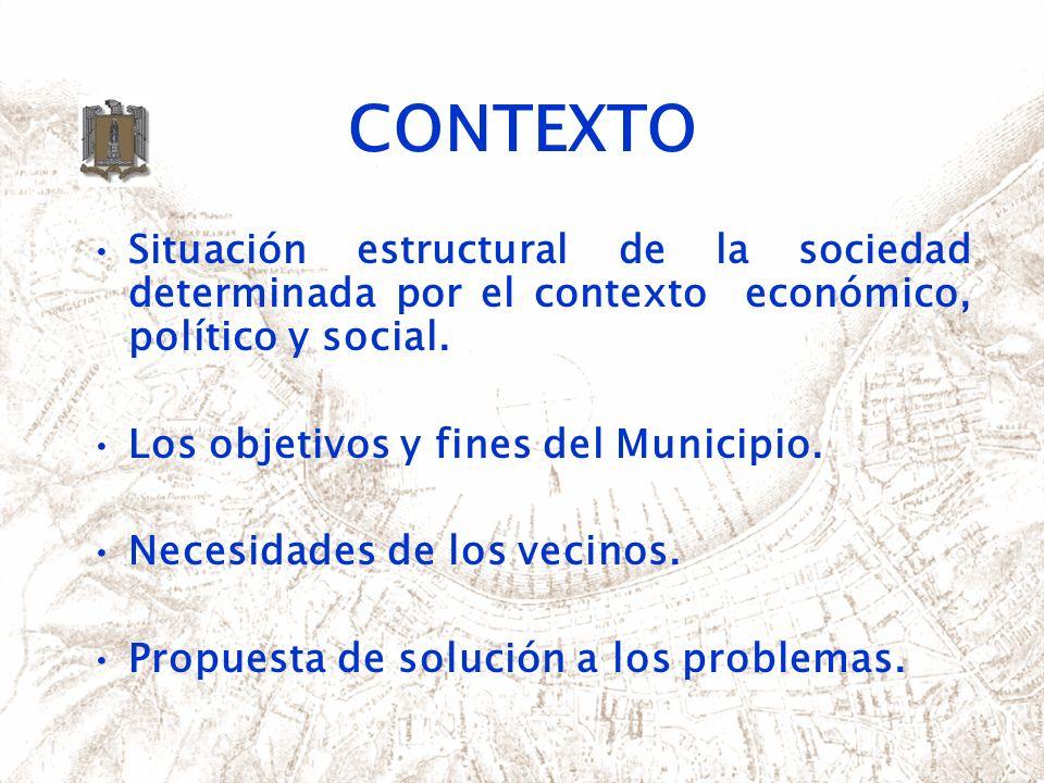 CONTEXTO Situación estructural de la sociedad determinada por el contexto económico, político y social.