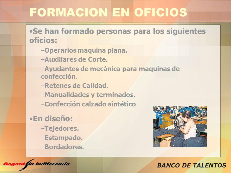 FORMACION EN OFICIOS Se han formado personas para los siguientes oficios: Operarios maquina plana.