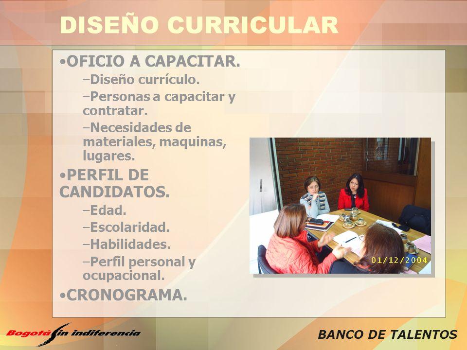 DISEÑO CURRICULAR OFICIO A CAPACITAR. PERFIL DE CANDIDATOS.