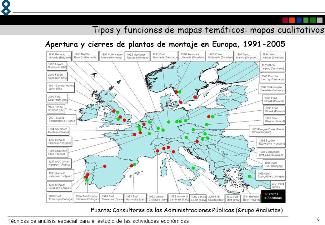Apertura y cierres de plantas de montaje en Europa, 1991-2005