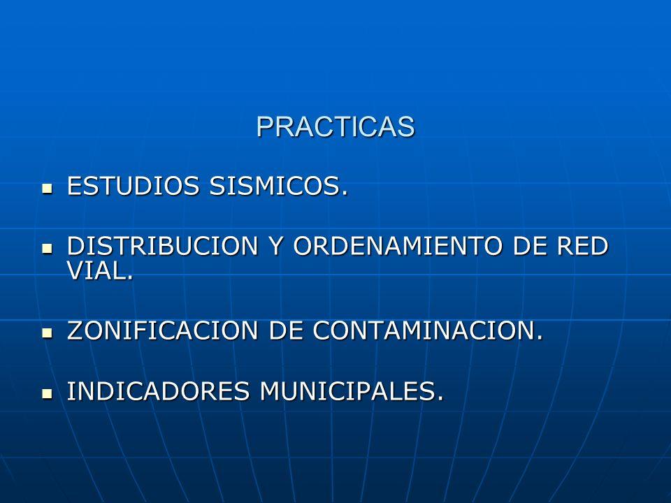 PRACTICAS ESTUDIOS SISMICOS. DISTRIBUCION Y ORDENAMIENTO DE RED VIAL.
