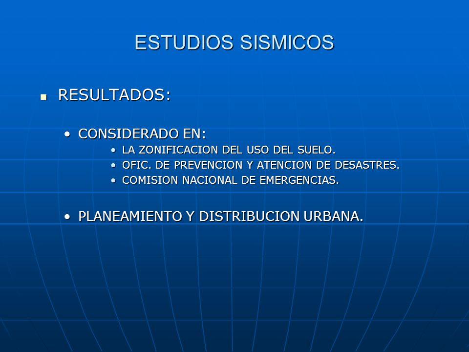 ESTUDIOS SISMICOS RESULTADOS: CONSIDERADO EN: