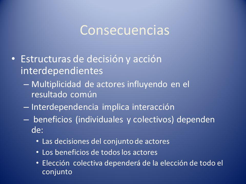 Consecuencias Estructuras de decisión y acción interdependientes