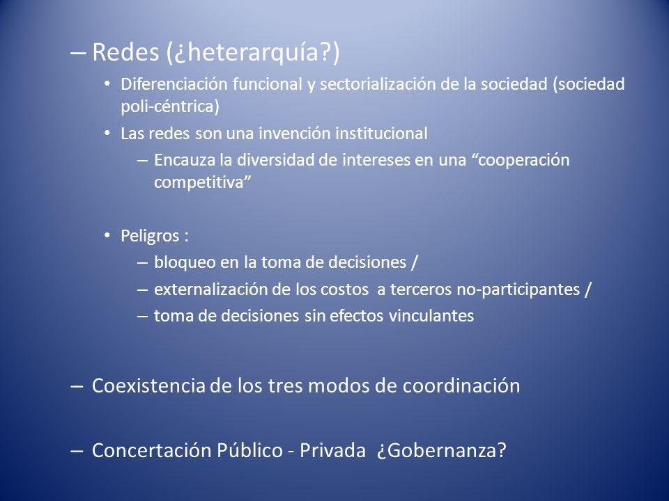 Redes (¿heterarquía ) Coexistencia de los tres modos de coordinación