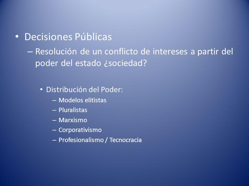 Decisiones Públicas Resolución de un conflicto de intereses a partir del poder del estado ¿sociedad