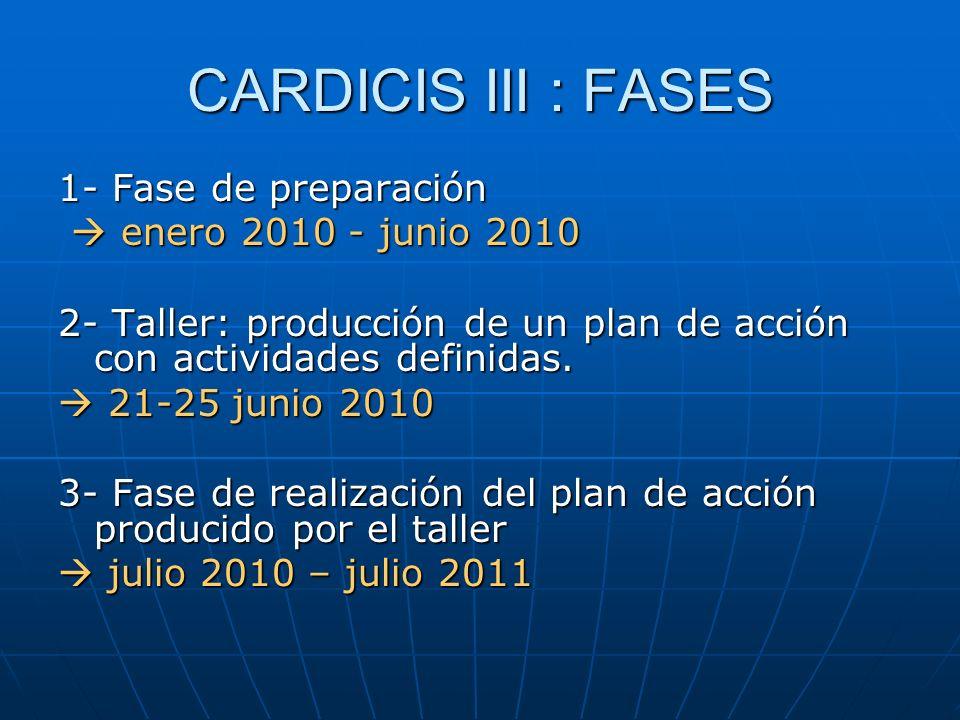 CARDICIS III : FASES 1- Fase de preparación  enero 2010 - junio 2010