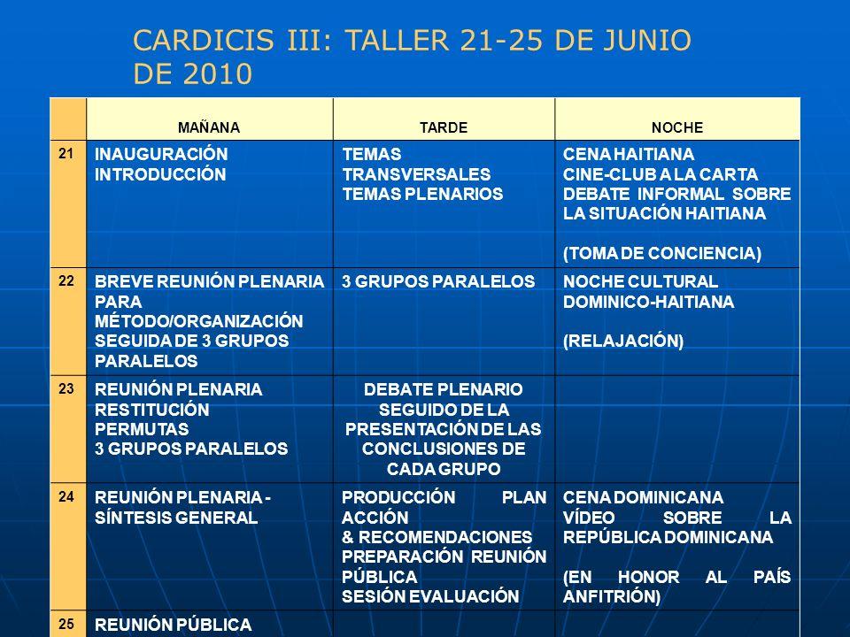 CARDICIS III: TALLER 21-25 DE JUNIO DE 2010