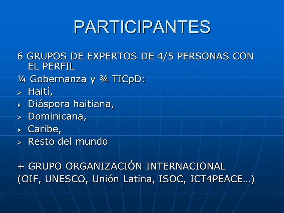 PARTICIPANTES 6 GRUPOS DE EXPERTOS DE 4/5 PERSONAS CON EL PERFIL