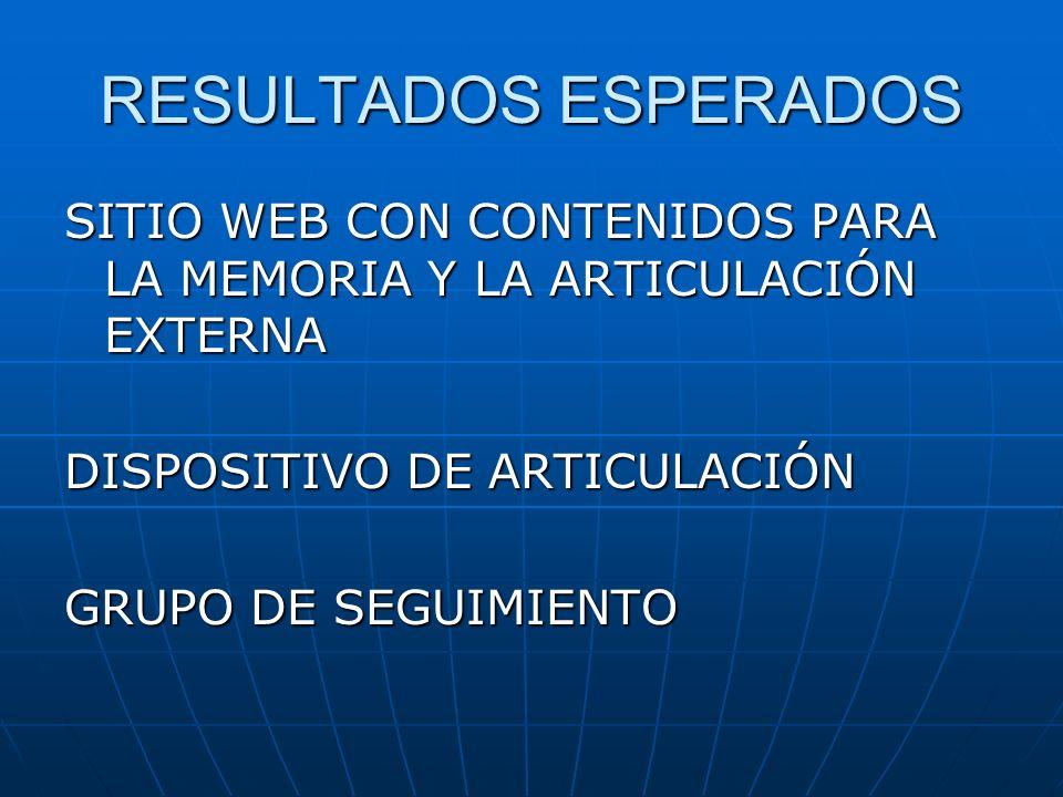 RESULTADOS ESPERADOSSITIO WEB CON CONTENIDOS PARA LA MEMORIA Y LA ARTICULACIÓN EXTERNA. DISPOSITIVO DE ARTICULACIÓN.