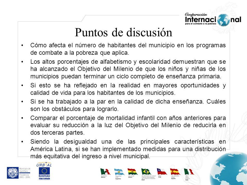 Puntos de discusiónCómo afecta el número de habitantes del municipio en los programas de combate a la pobreza que aplica.