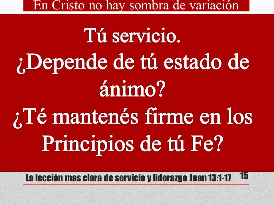 La lección mas clara de servicio y liderazgo Juan 13:1-17