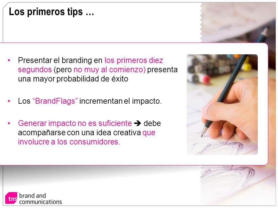 Los primeros tips … Presentar el branding en los primeros diez segundos (pero no muy al comienzo) presenta una mayor probabilidad de éxito.