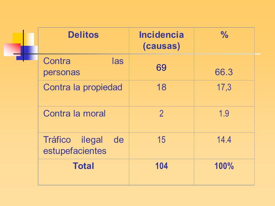 Delitos Incidencia (causas) 69. % Contra las personas. 66.3. Contra la propiedad. 18. 17,3. Contra la moral.