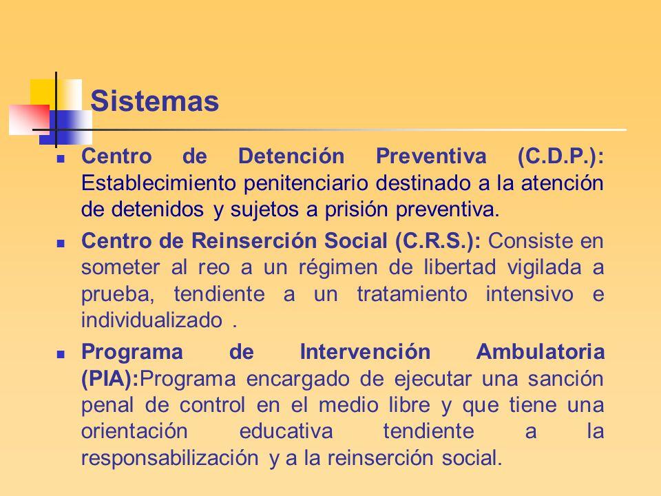 Sistemas Centro de Detención Preventiva (C.D.P.): Establecimiento penitenciario destinado a la atención de detenidos y sujetos a prisión preventiva.
