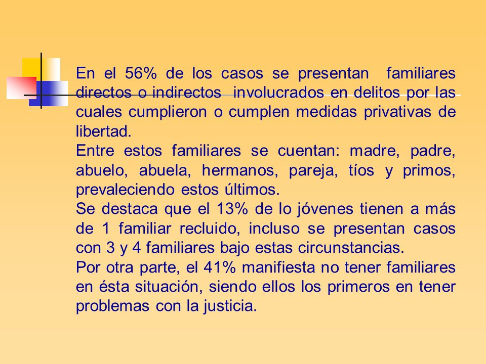 En el 56% de los casos se presentan familiares directos o indirectos involucrados en delitos por las cuales cumplieron o cumplen medidas privativas de libertad.