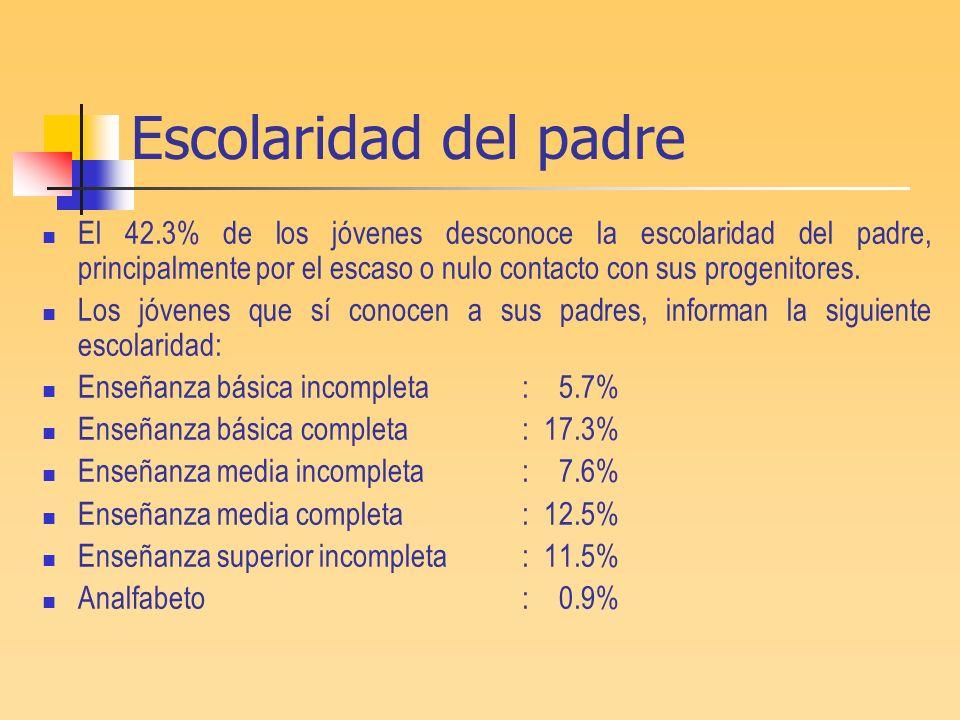 Escolaridad del padreEl 42.3% de los jóvenes desconoce la escolaridad del padre, principalmente por el escaso o nulo contacto con sus progenitores.