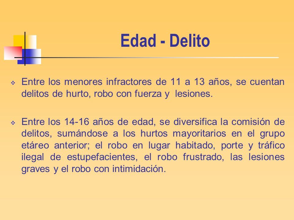 Edad - DelitoEntre los menores infractores de 11 a 13 años, se cuentan delitos de hurto, robo con fuerza y lesiones.