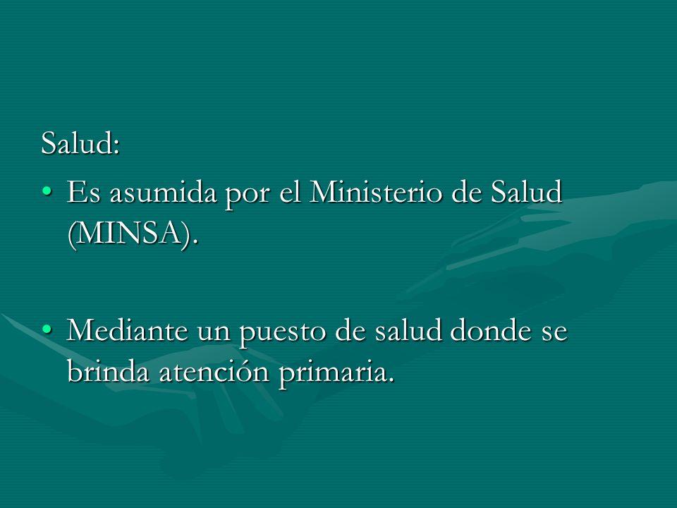 Salud: Es asumida por el Ministerio de Salud (MINSA).