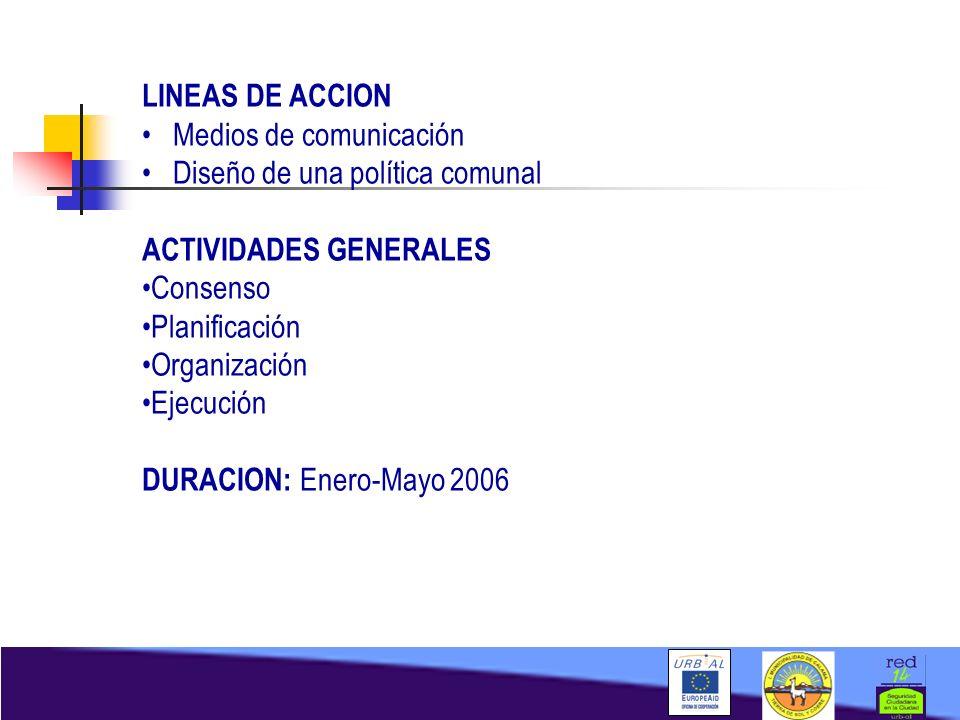 LINEAS DE ACCION Medios de comunicación. Diseño de una política comunal. ACTIVIDADES GENERALES. Consenso.