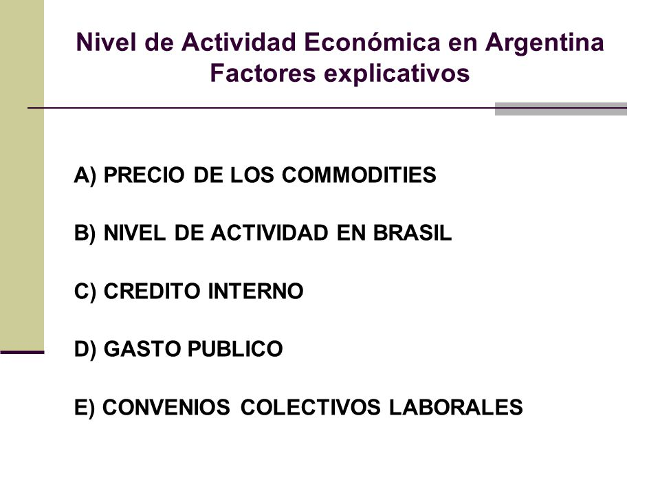 Nivel de Actividad Económica en Argentina Factores explicativos