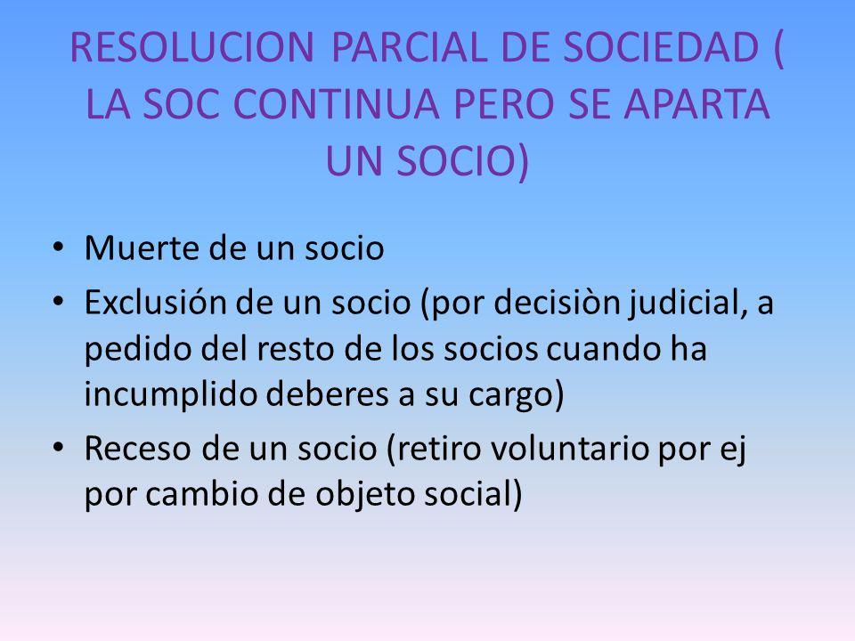 RESOLUCION PARCIAL DE SOCIEDAD ( LA SOC CONTINUA PERO SE APARTA UN SOCIO)