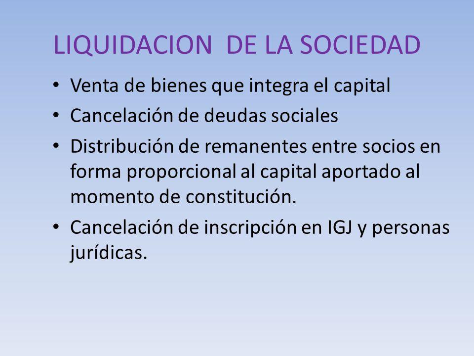 LIQUIDACION DE LA SOCIEDAD