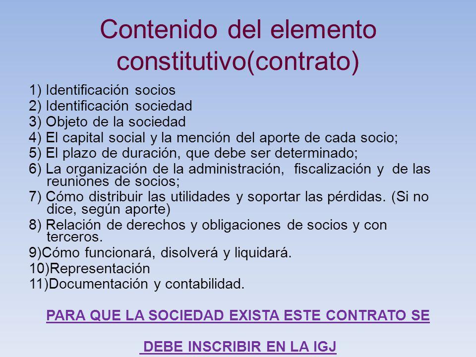 Contenido del elemento constitutivo(contrato)