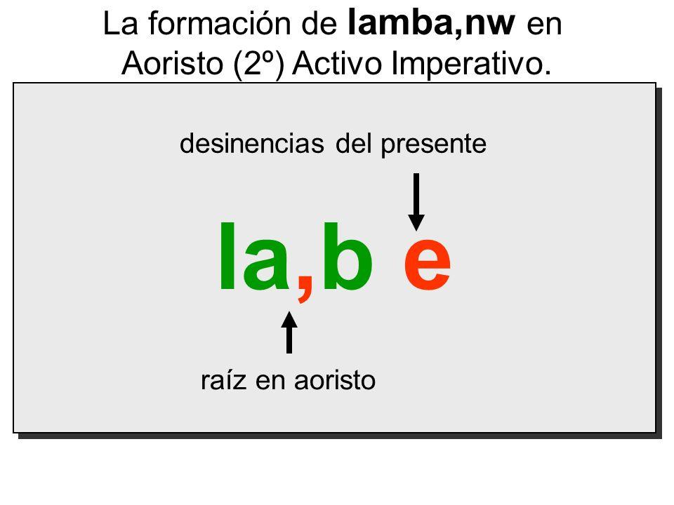 la,b e La formación de lamba,nw en Aoristo (2º) Activo Imperativo.