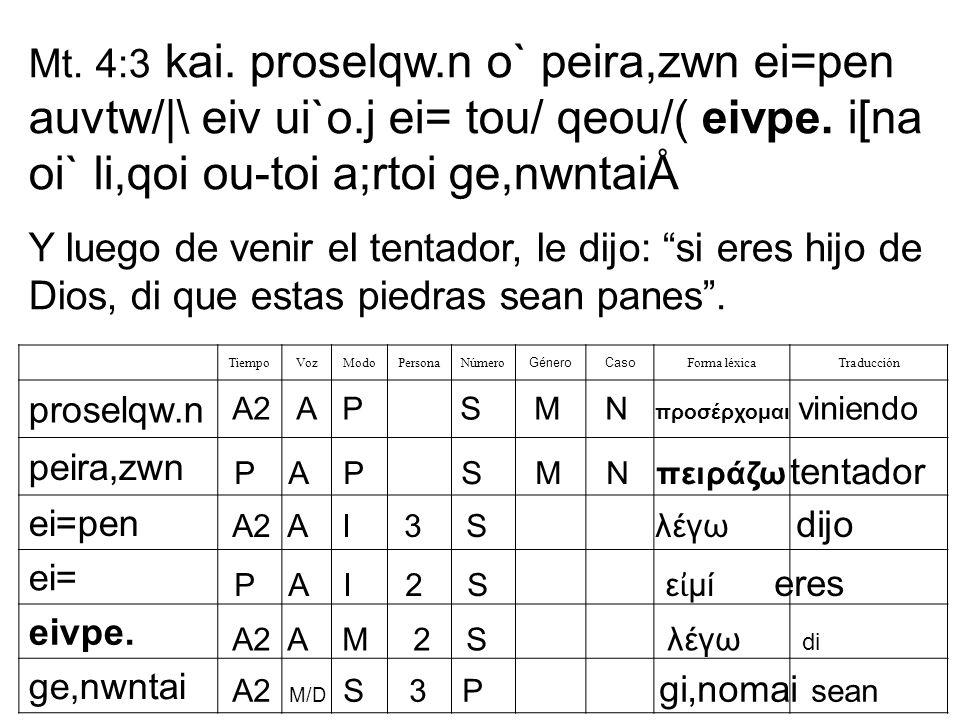 Mt. 4:3 kai. proselqw. n o` peira,zwn ei=pen auvtw/|\ eiv ui`o