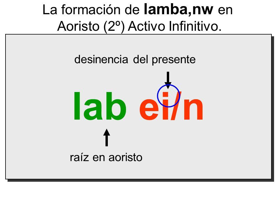 lab ei/n La formación de lamba,nw en Aoristo (2º) Activo Infinitivo.
