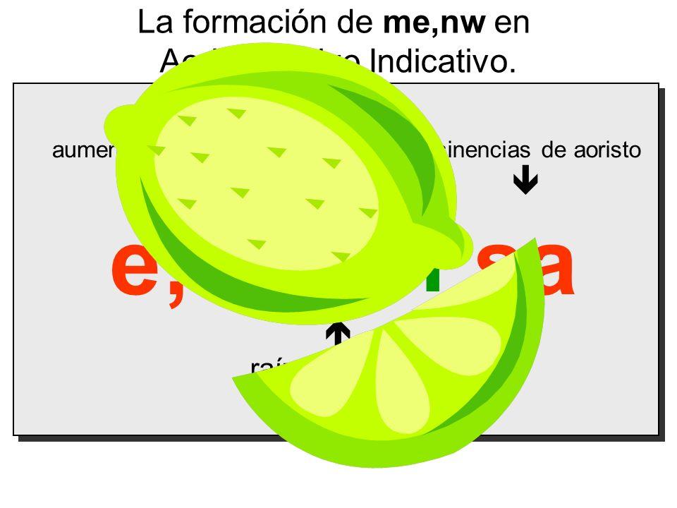 mein e; sa La formación de me,nw en Aoristo Activo Indicativo.   