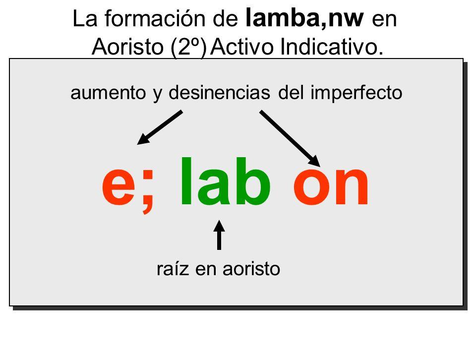 e; lab on La formación de lamba,nw en Aoristo (2º) Activo Indicativo.
