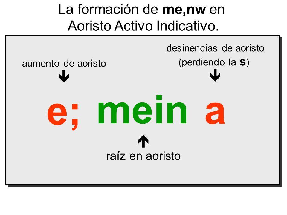 mein a e; La formación de me,nw en Aoristo Activo Indicativo.   