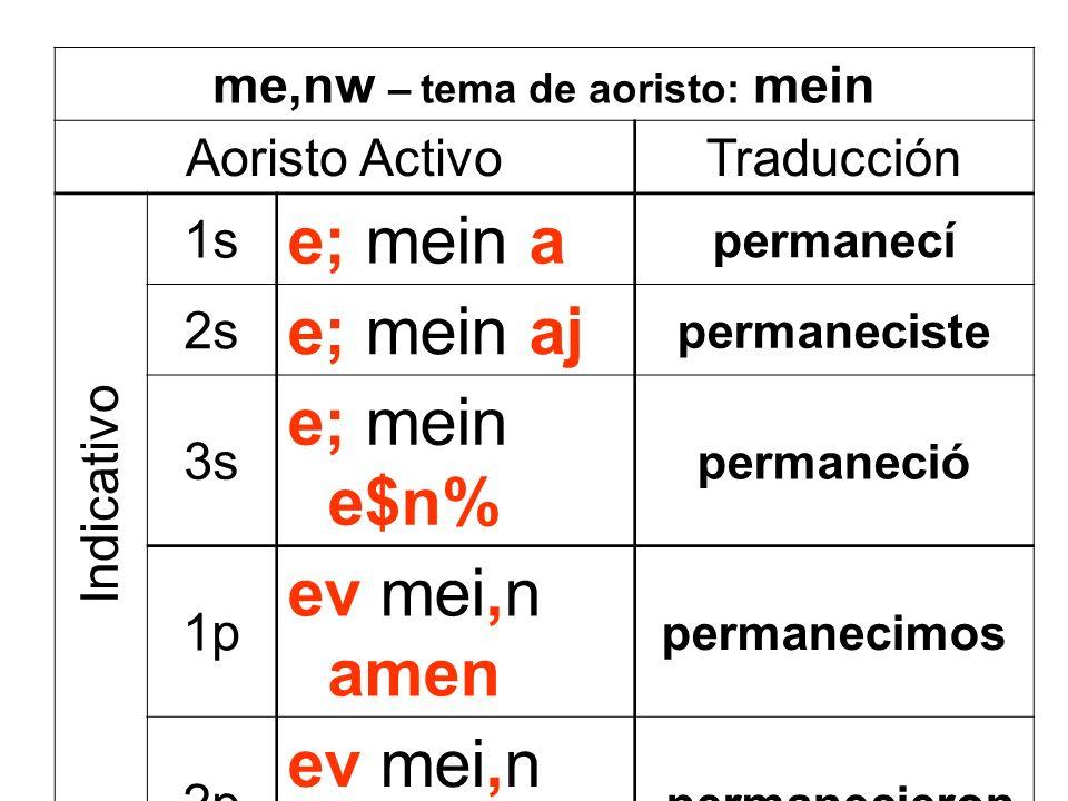 me,nw – tema de aoristo: mein