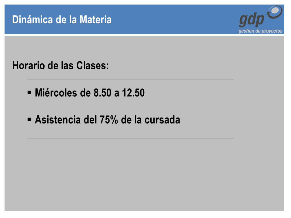 Dinámica de la Materia Horario de las Clases: Miércoles de 8.50 a 12.50.