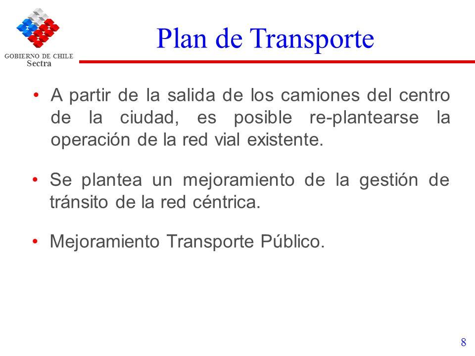 Plan de Transporte A partir de la salida de los camiones del centro de la ciudad, es posible re-plantearse la operación de la red vial existente.