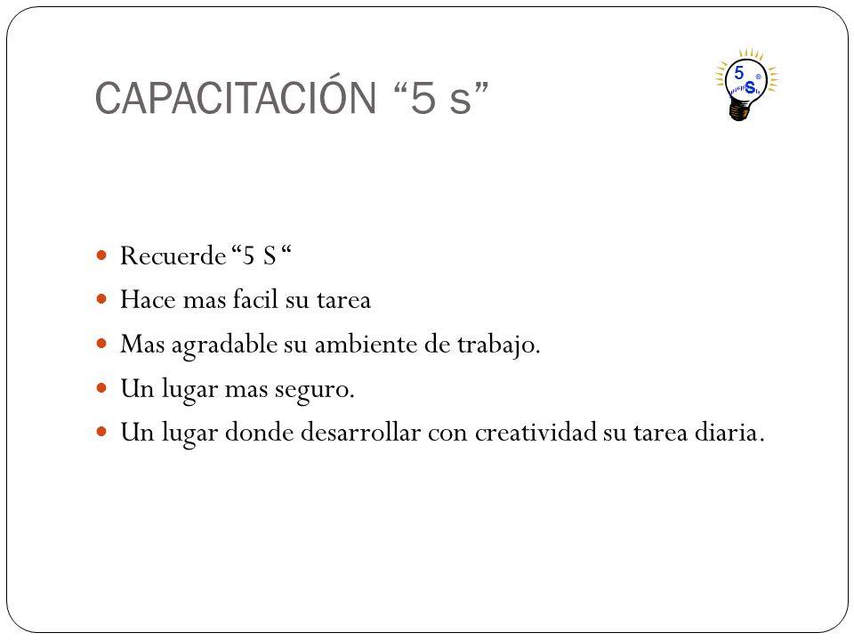 CAPACITACIÓN 5 s Recuerde 5 S Hace mas facil su tarea