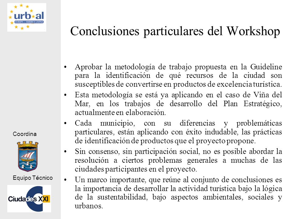 Conclusiones particulares del Workshop
