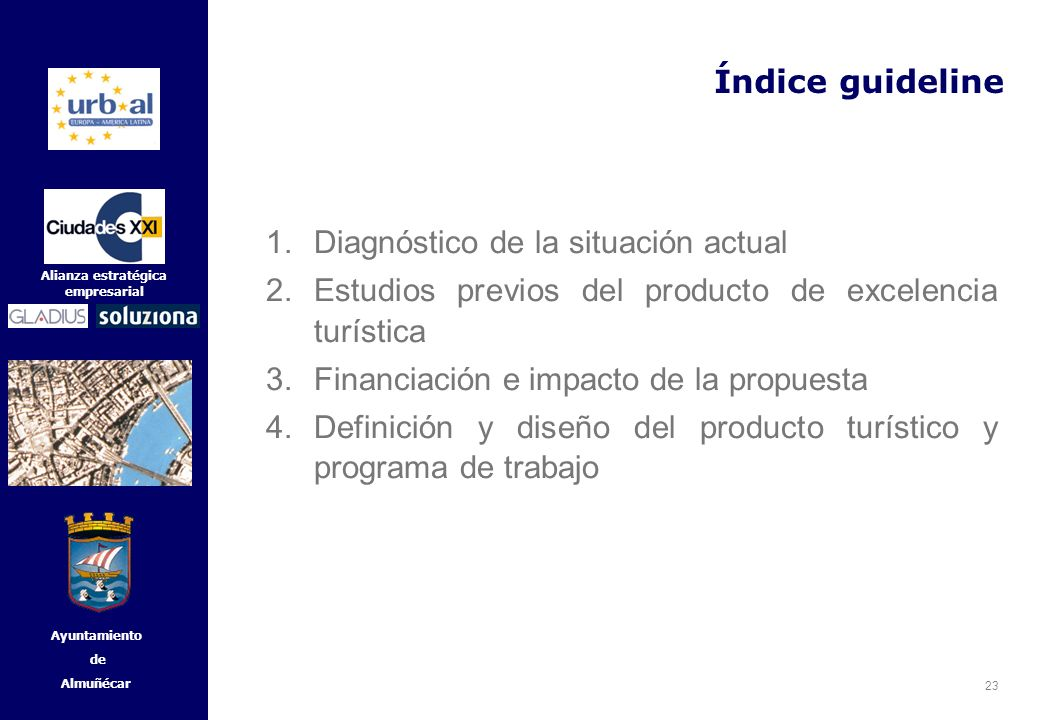 Índice guideline Diagnóstico de la situación actual. Estudios previos del producto de excelencia turística.